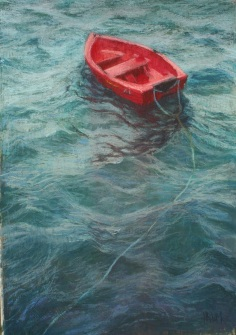 Tethered Red Boat