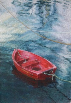 Tethered Red Boat with Reflections